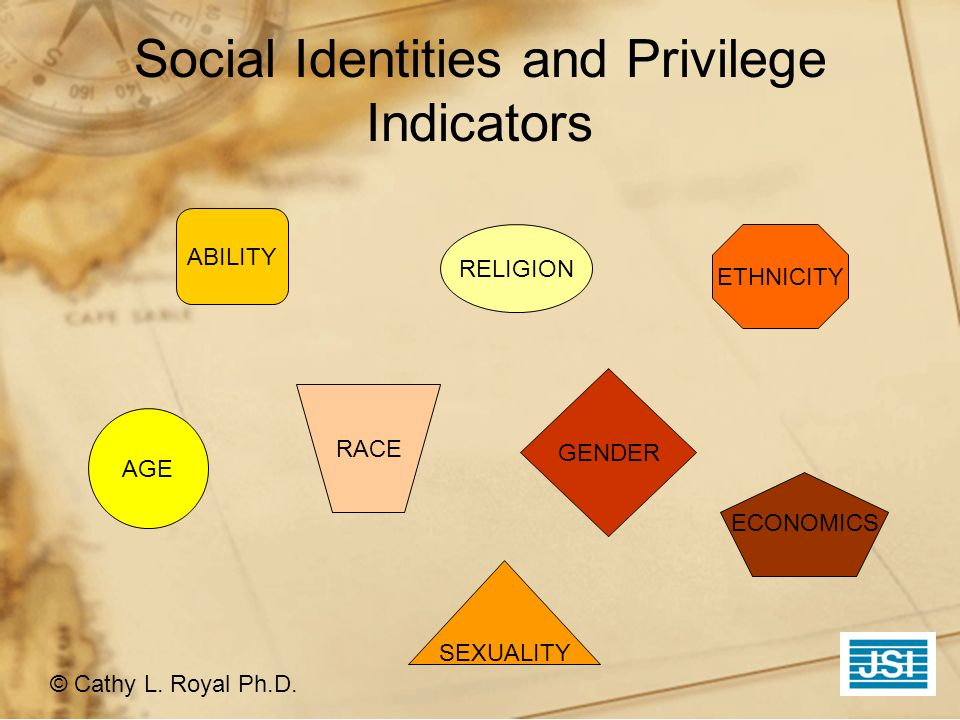 Social Identities and Privilege Indicators © Cathy L. Royal Ph.D. ABILITY RELIGION AGE SEXUALITY ETHNICITY RACE ECONOMICS GENDER