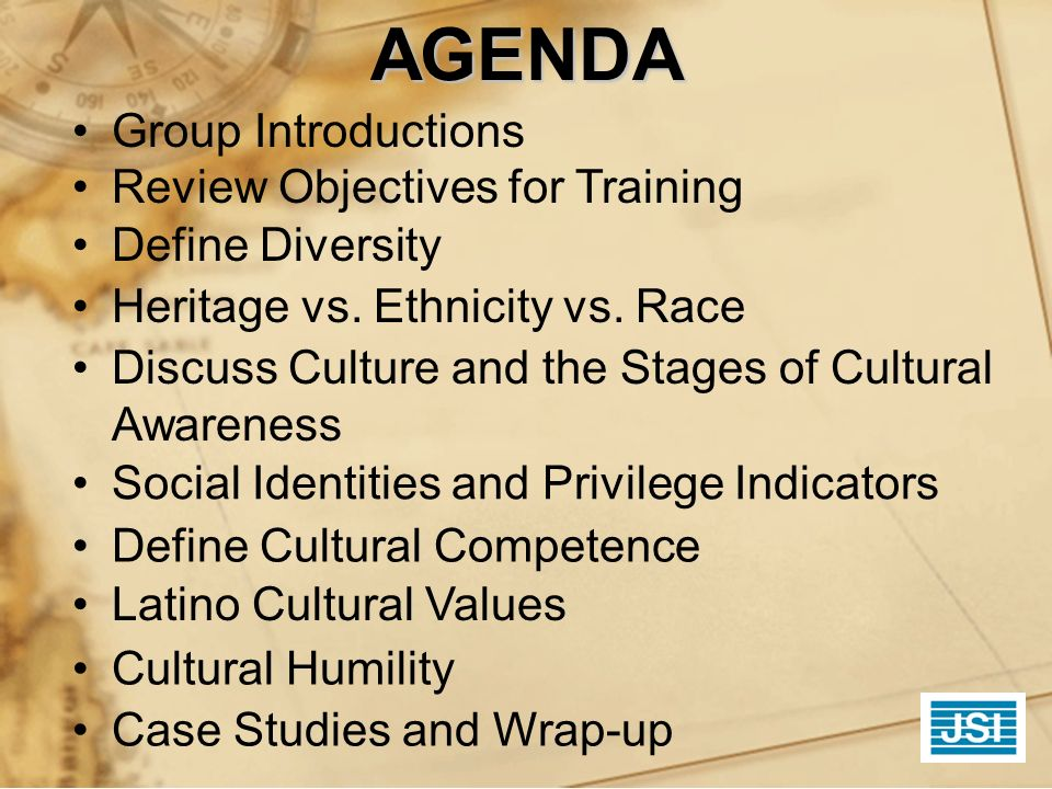 AGENDA Group Introductions Review Objectives for Training Define Diversity Heritage vs. Ethnicity vs. Race Discuss Culture and the Stages of Cultural