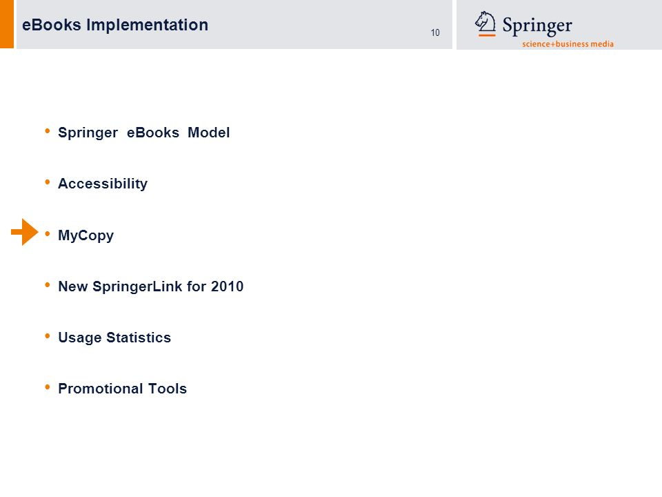 10 eBooks Implementation Springer eBooks Model Accessibility MyCopy New SpringerLink for 2010 Usage Statistics Promotional Tools