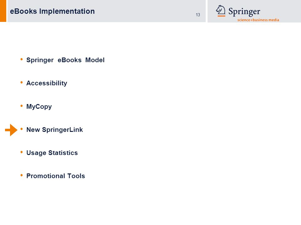 13 eBooks Implementation Springer eBooks Model Accessibility MyCopy New SpringerLink Usage Statistics Promotional Tools