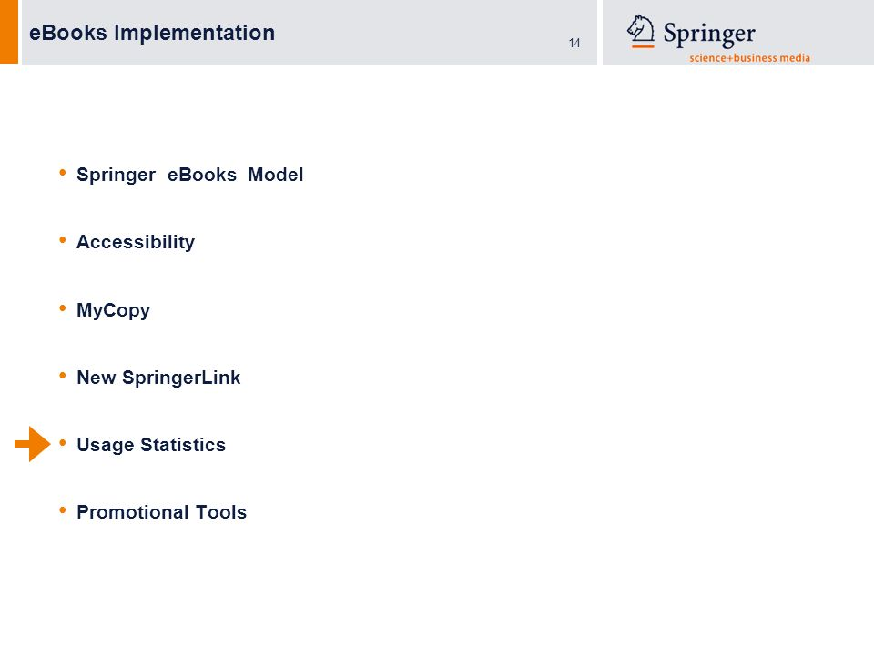 14 eBooks Implementation Springer eBooks Model Accessibility MyCopy New SpringerLink Usage Statistics Promotional Tools