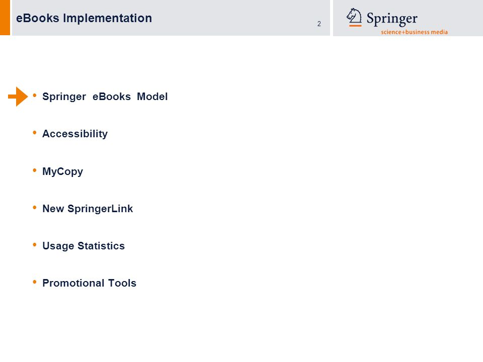2 eBooks Implementation Springer eBooks Model Accessibility MyCopy New SpringerLink Usage Statistics Promotional Tools