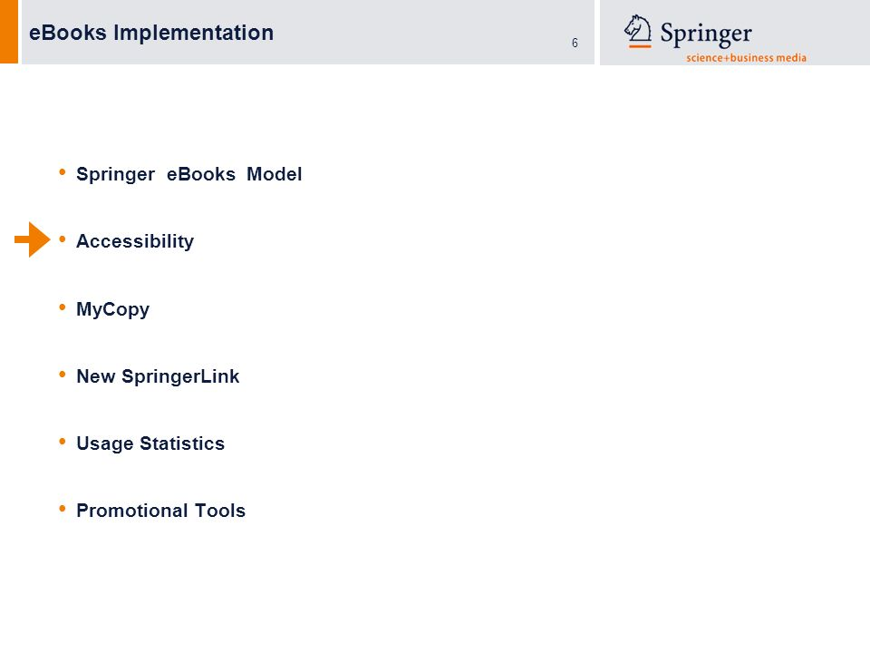 6 eBooks Implementation Springer eBooks Model Accessibility MyCopy New SpringerLink Usage Statistics Promotional Tools