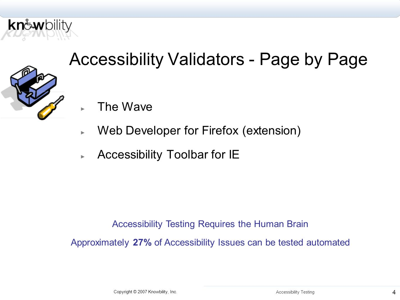 Copyright © 2007 Knowbility, Inc. Accessibility Testing 4 Accessibility Validators - Page by Page The Wave Web Developer for Firefox (extension) Acces
