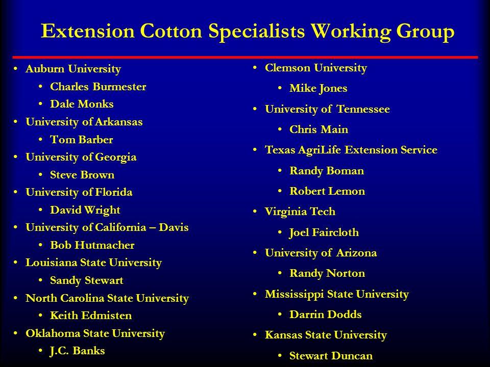Extension Cotton Specialists Working Group Auburn University Charles Burmester Dale Monks University of Arkansas Tom Barber University of Georgia Stev