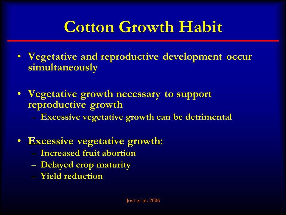 Jost et al. 2006 Cotton Growth Habit Vegetative and reproductive development occur simultaneously Vegetative growth necessary to support reproductive