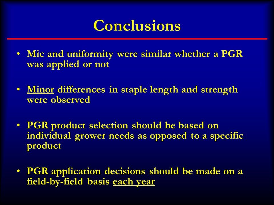 Conclusions Mic and uniformity were similar whether a PGR was applied or not Minor differences in staple length and strength were observed PGR product