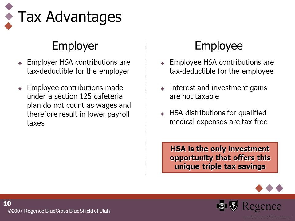 ©2007 Regence BlueCross BlueShield of Utah 10 Tax Advantages HSA is the only investment opportunity that offers this unique triple tax savings Employee Employee HSA contributions are tax-deductible for the employee Interest and investment gains are not taxable HSA distributions for qualified medical expenses are tax-free Employer Employer HSA contributions are tax-deductible for the employer Employee contributions made under a section 125 cafeteria plan do not count as wages and therefore result in lower payroll taxes
