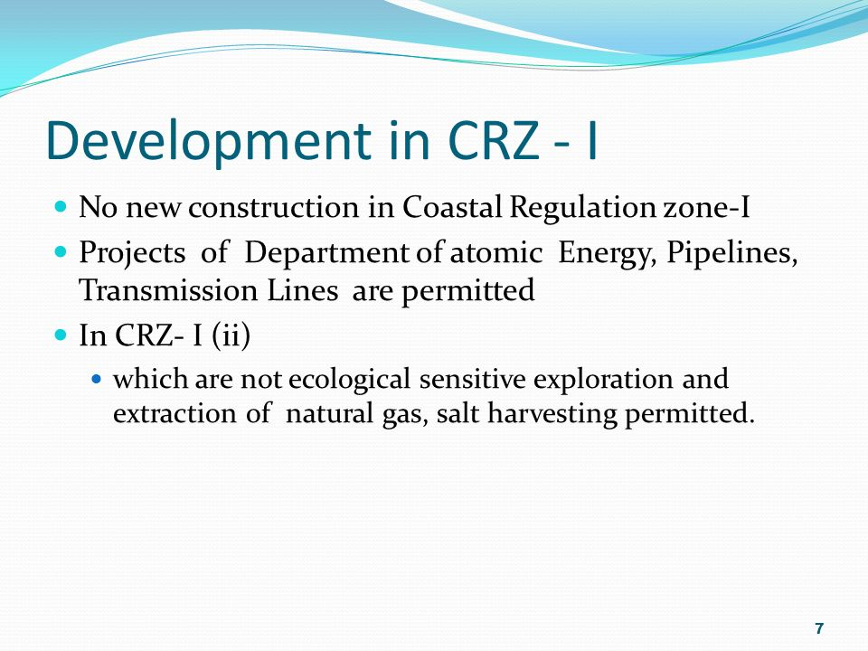 CRZ - I What are the different zone in Coastal Regulation zone? Coastal Regulation zone-I(i) Areas that are ecological sensitive such as Marine Park,