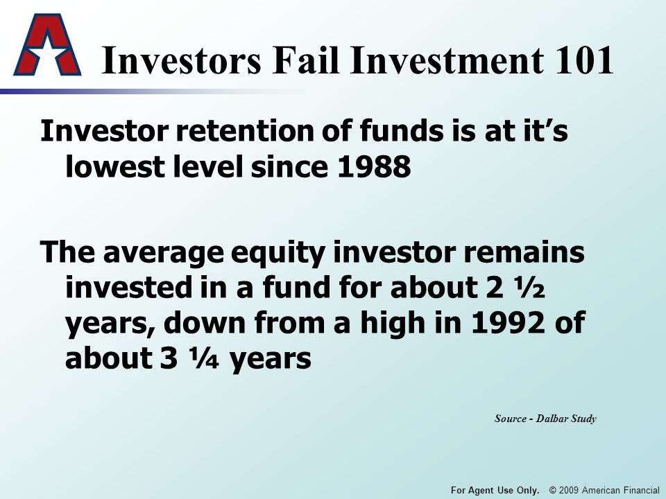 For Agent Use Only. © 2009 American Financial Investors Fail Investment 101 Investor retention of funds is at its lowest level since 1988 The average