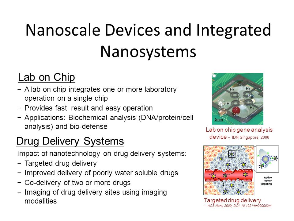 Nanoscale Devices and Integrated Nanosystems Lab on chip gene analysis device – IBN Singapore, 2008 Lab on Chip Drug Delivery Systems Targeted drug de