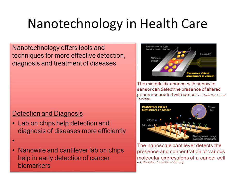 Nanotechnology in Health Care The microfluidic channel with nanowire sensor can detect the presence of altered genes associated with cancer – J. Heath