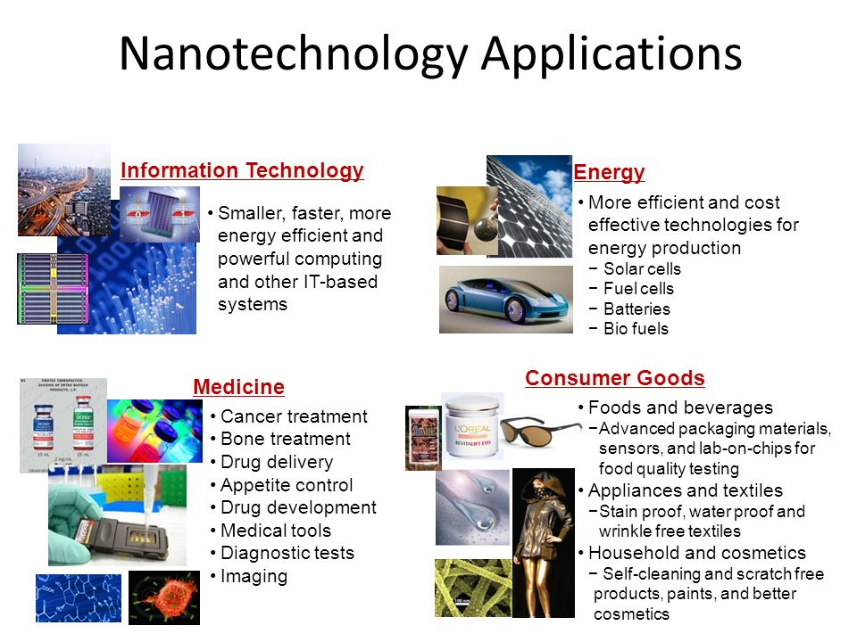 Nanotechnology Applications Information Technology Energy Medicine Consumer Goods Smaller, faster, more energy efficient and powerful computing and ot