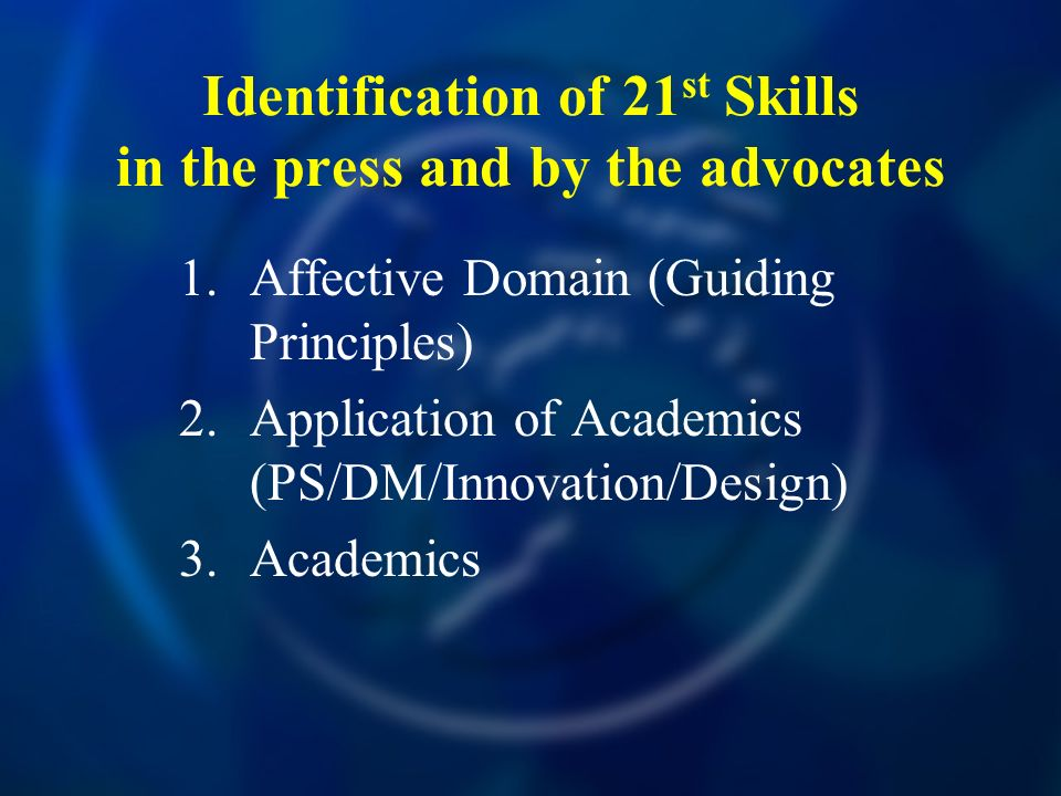 Identification of 21 st Skills in the press and by the advocates 1.Affective Domain (Guiding Principles) 2.Application of Academics (PS/DM/Innovation/Design) 3.Academics