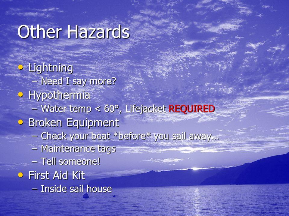 Other Hazards Lightning Lightning –Need I say more? Hypothermia Hypothermia –Water temp < 60°, Lifejacket REQUIRED Broken Equipment Broken Equipment –