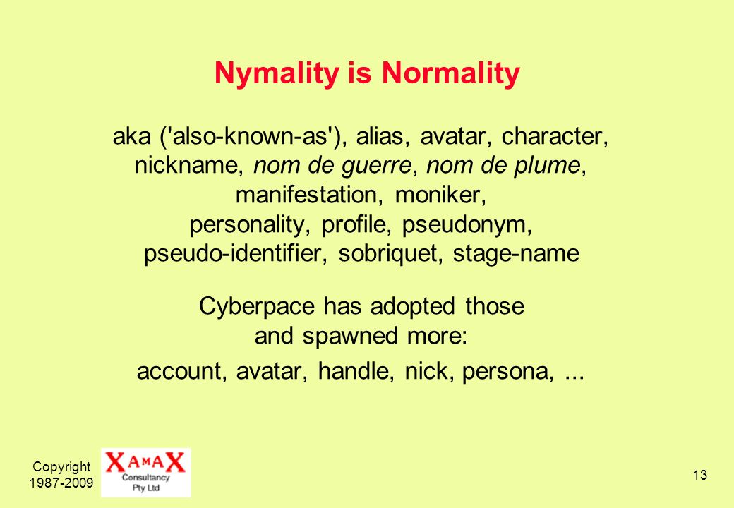 Copyright 1987-2009 13 Nymality is Normality aka ( also-known-as ), alias, avatar, character, nickname, nom de guerre, nom de plume, manifestation, moniker, personality, profile, pseudonym, pseudo-identifier, sobriquet, stage-name Cyberpace has adopted those and spawned more: account, avatar, handle, nick, persona,...