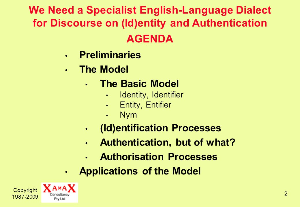 Copyright 1987-2009 2 We Need a Specialist English-Language Dialect for Discourse on (Id)entity and Authentication AGENDA Preliminaries The Model The Basic Model Identity, Identifier Entity, Entifier Nym (Id)entification Processes Authentication, but of what.