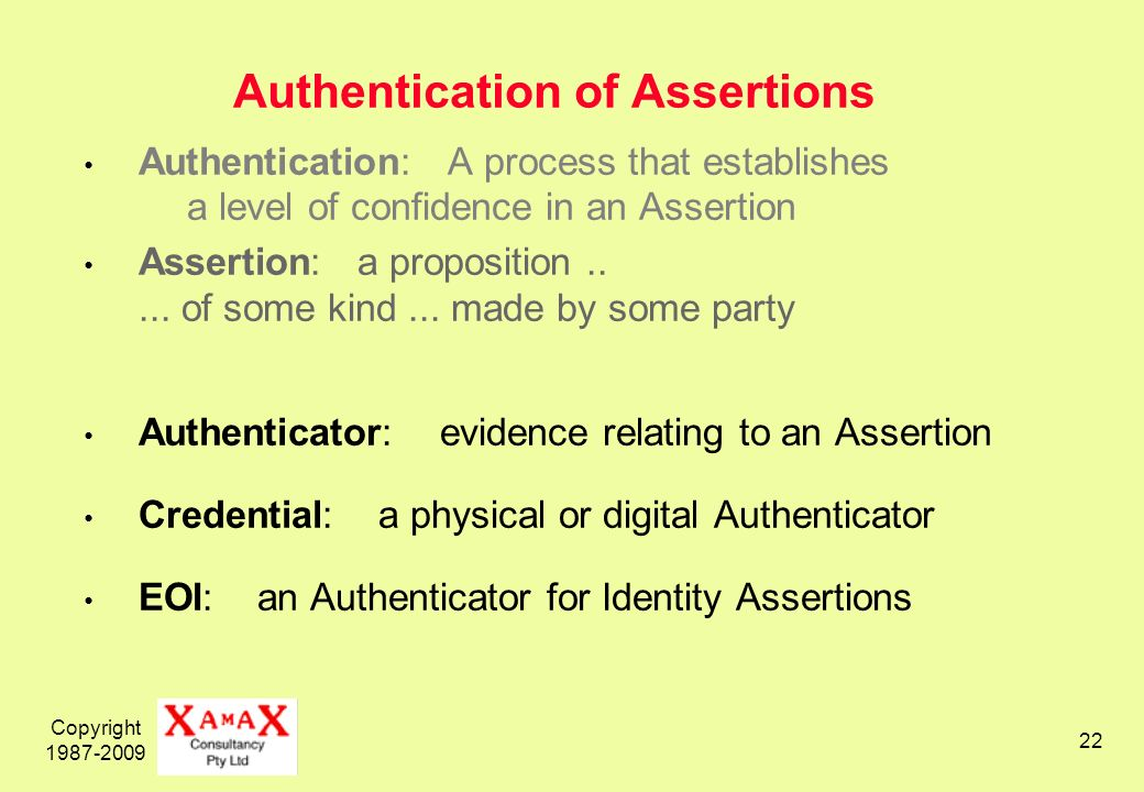 Copyright 1987-2009 22 Authentication of Assertions Authentication: A process that establishes a level of confidence in an Assertion Assertion: a proposition.....