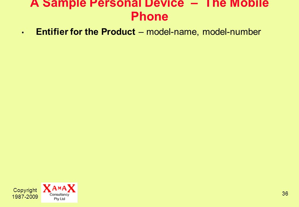 Copyright 1987-2009 36 A Sample Personal Device – The Mobile Phone Entifier for the Product – model-name, model-number