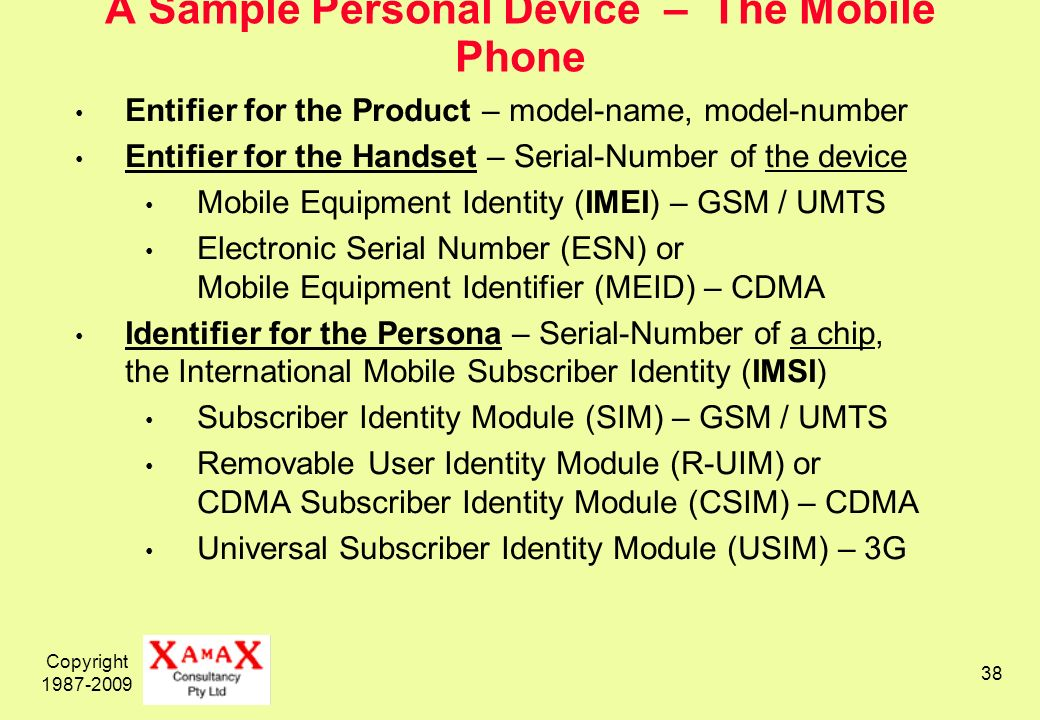 Copyright 1987-2009 38 A Sample Personal Device – The Mobile Phone Entifier for the Product – model-name, model-number Entifier for the Handset – Serial-Number of the device Mobile Equipment Identity (IMEI) – GSM / UMTS Electronic Serial Number (ESN) or Mobile Equipment Identifier (MEID) – CDMA Identifier for the Persona – Serial-Number of a chip, the International Mobile Subscriber Identity (IMSI) Subscriber Identity Module (SIM) – GSM / UMTS Removable User Identity Module (R-UIM) or CDMA Subscriber Identity Module (CSIM) – CDMA Universal Subscriber Identity Module (USIM) – 3G