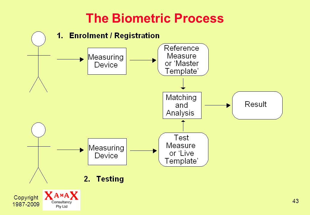 Copyright 1987-2009 43 The Biometric Process