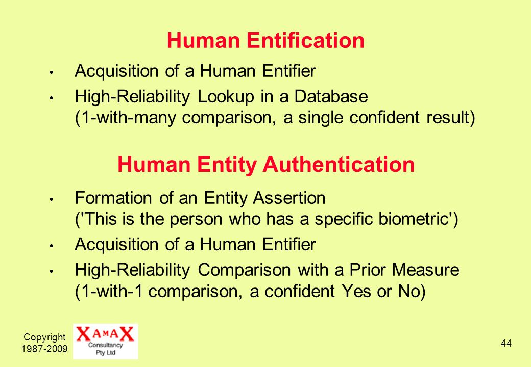 Copyright 1987-2009 44 Human Entification Acquisition of a Human Entifier High-Reliability Lookup in a Database (1-with-many comparison, a single confident result) Formation of an Entity Assertion ( This is the person who has a specific biometric ) Acquisition of a Human Entifier High-Reliability Comparison with a Prior Measure (1-with-1 comparison, a confident Yes or No) Human Entity Authentication