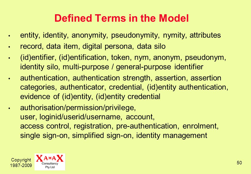 Copyright 1987-2009 50 Defined Terms in the Model entity, identity, anonymity, pseudonymity, nymity, attributes record, data item, digital persona, data silo (id)entifier, (id)entification, token, nym, anonym, pseudonym, identity silo, multi-purpose / general-purpose identifier authentication, authentication strength, assertion, assertion categories, authenticator, credential, (id)entity authentication, evidence of (id)entity, (id)entity credential authorisation/permission/privilege, user, loginid/userid/username, account, access control, registration, pre-authentication, enrolment, single sign-on, simplified sign-on, identity management