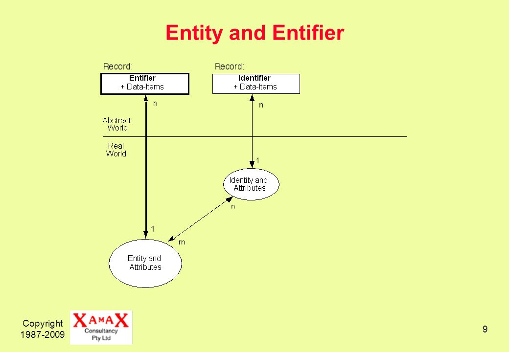 Copyright 1987-2009 9 Entity and Entifier