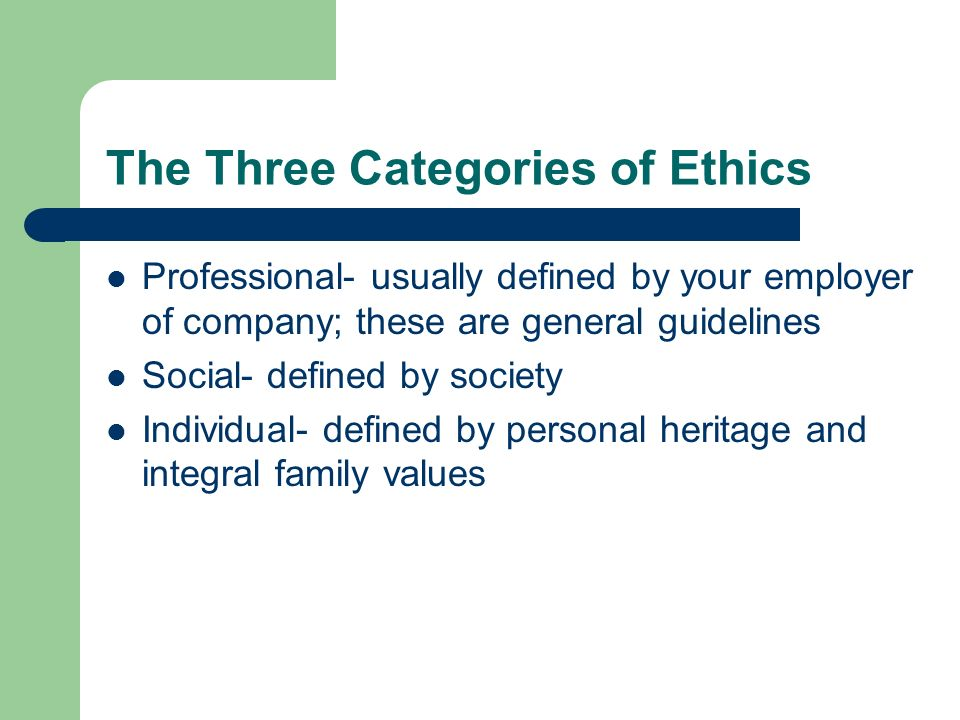 The Three Categories of Ethics Professional- usually defined by your employer of company; these are general guidelines Social- defined by society Indi