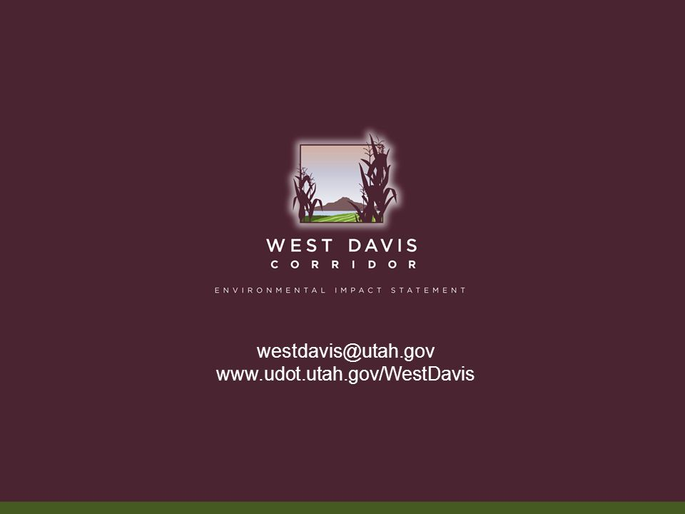 westdavis@utah.gov www.udot.utah.gov/WestDavis