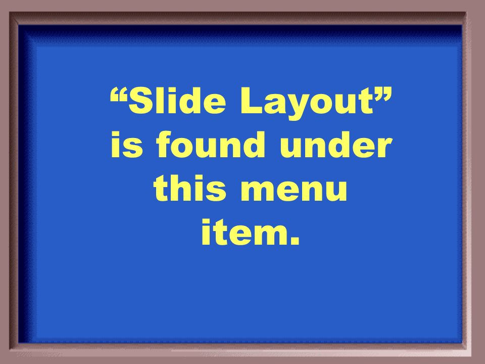 What is the Slide Show Menu