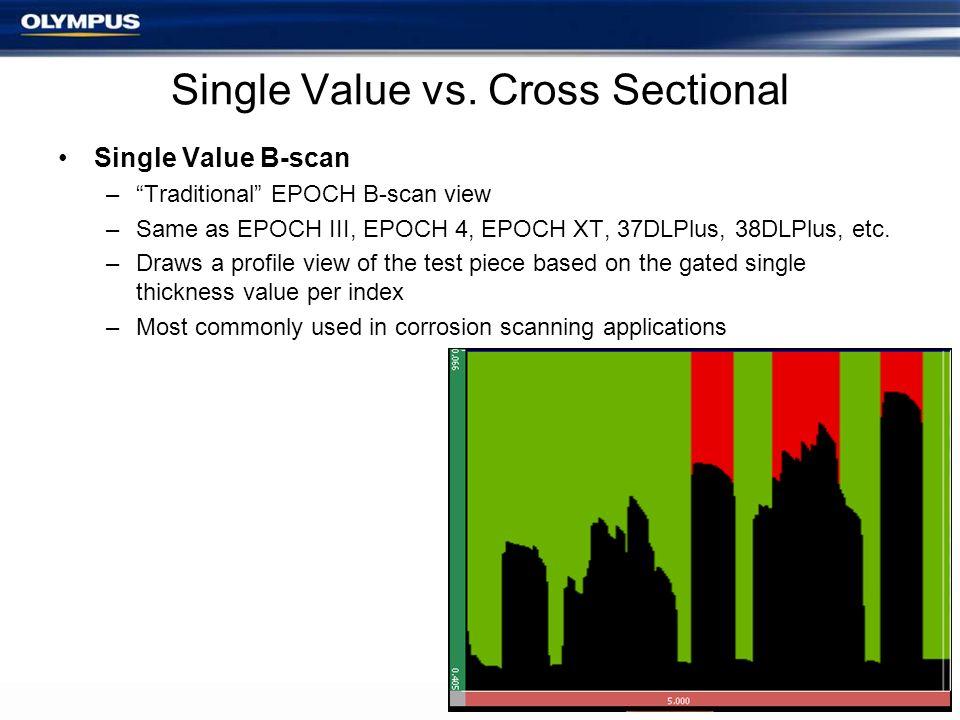 Single Value vs. Cross Sectional Single Value B-scan –Traditional EPOCH B-scan view –Same as EPOCH III, EPOCH 4, EPOCH XT, 37DLPlus, 38DLPlus, etc. –D