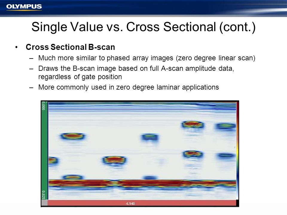 Single Value vs. Cross Sectional (cont.) Cross Sectional B-scan –Much more similar to phased array images (zero degree linear scan) –Draws the B-scan