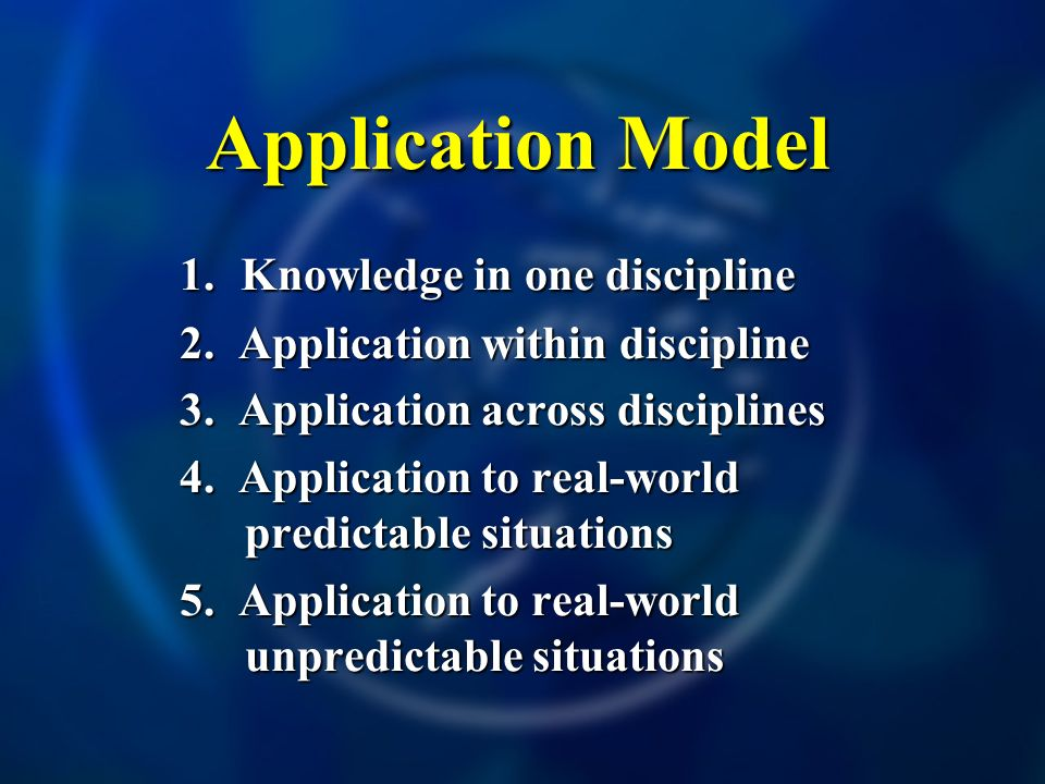 Application Model 1. Knowledge in one discipline 2. Application within discipline 3. Application across disciplines 4. Application to real-world predi
