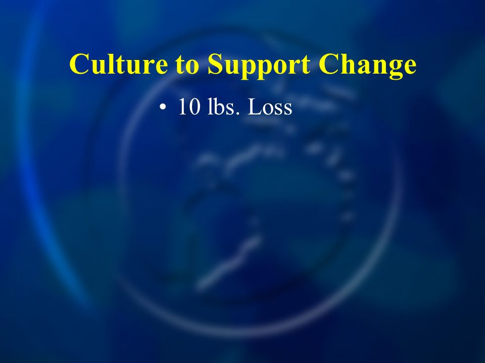 Culture to Support Change 10 lbs. Loss