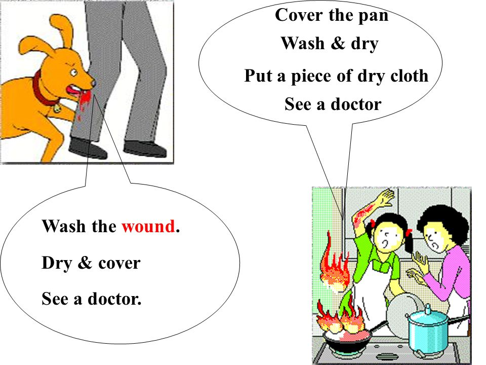 Wash the wound. Dry & cover See a doctor. Wash & dry Put a piece of dry cloth See a doctor Cover the pan