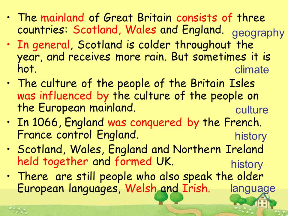 Check your memory mainland form Scotland Scottish Wales Welsh Ireland Irish consist of in general = generally speaking be influenced by be conquered by hold together = unite