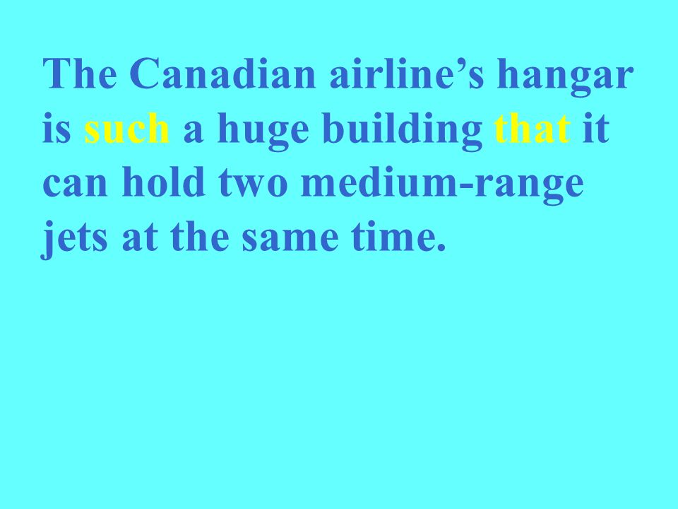 The Canadian airlines hangar is such a huge building that it can hold two medium-range jets at the same time.