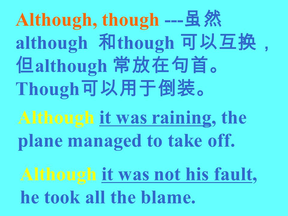 Although, though --- although though although Though Although it was raining, the plane managed to take off. Although it was not his fault, he took al
