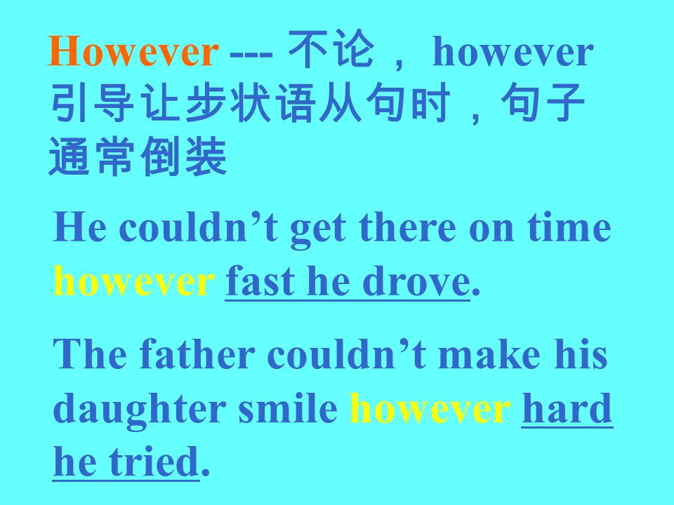 However --- however He couldnt get there on time however fast he drove. The father couldnt make his daughter smile however hard he tried.