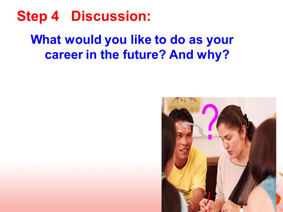 Step 4 Discussion: What would you like to do as your career in the future And why