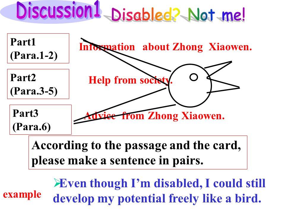 Part1 (Para.1-2) Part2 (Para.3-5) Part3 (Para.6) Information about Zhong Xiaowen.
