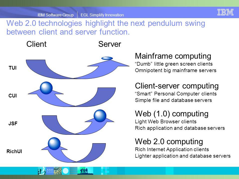 IBM Software Group | EGL Simplify Innovation IBM Software Group EGL Simplify Innovation Web 2.0 technologies highlight the next pendulum swing between