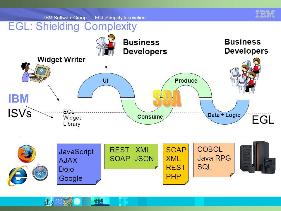 IBM Software Group | EGL Simplify Innovation IBM Software Group EGL Simplify Innovation EGL: Shielding Complexity Consume Data + Logic UIProduce JavaS