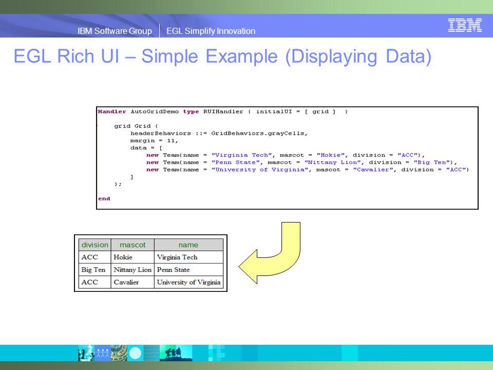 IBM Software Group | EGL Simplify Innovation IBM Software Group EGL Simplify Innovation EGL Rich UI – Simple Example (Displaying Data)