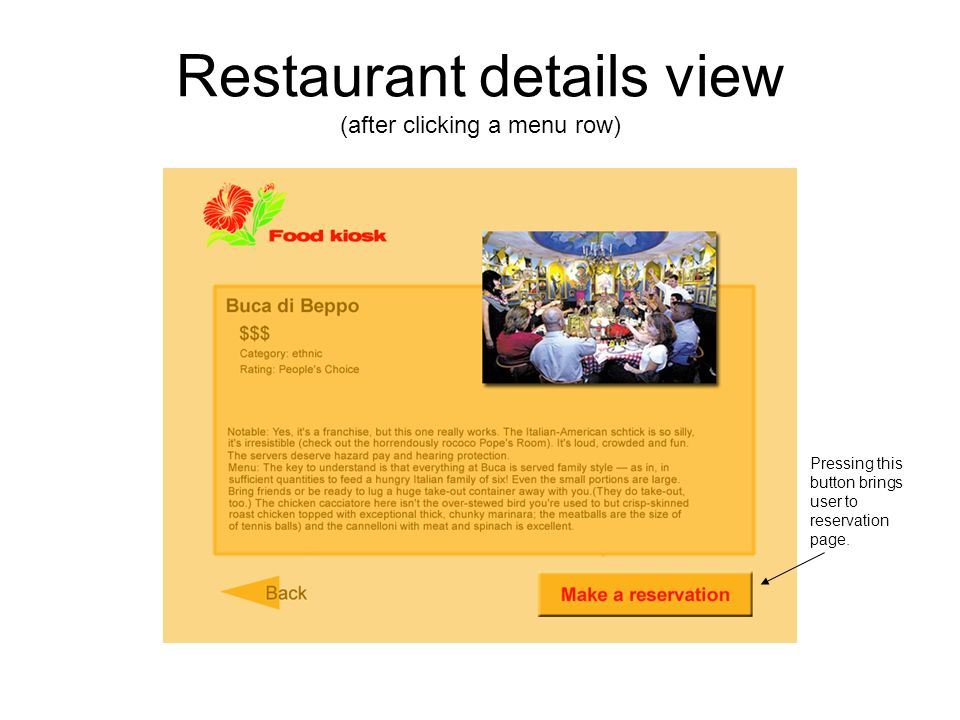 Restaurant details view (after clicking a menu row) Pressing this button brings user to reservation page.