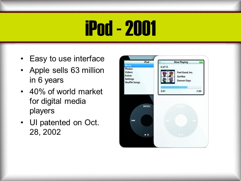iPod - 2001 Easy to use interface Apple sells 63 million in 6 years 40% of world market for digital media players UI patented on Oct. 28, 2002