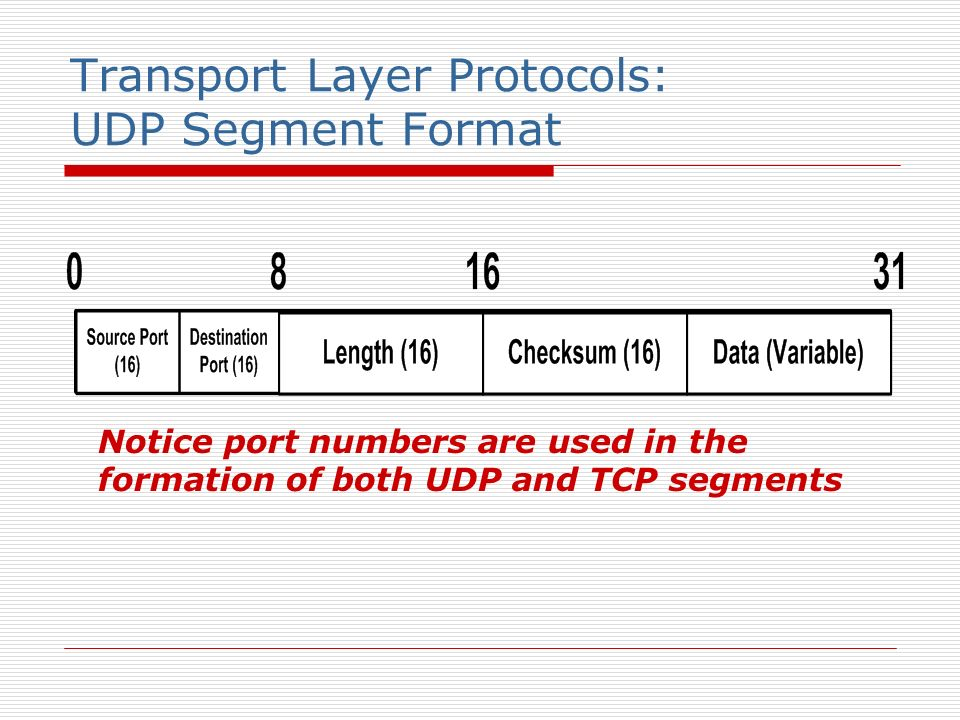 Transport Layer Protocols: UDP Segment Format Notice port numbers are used in the formation of both UDP and TCP segments