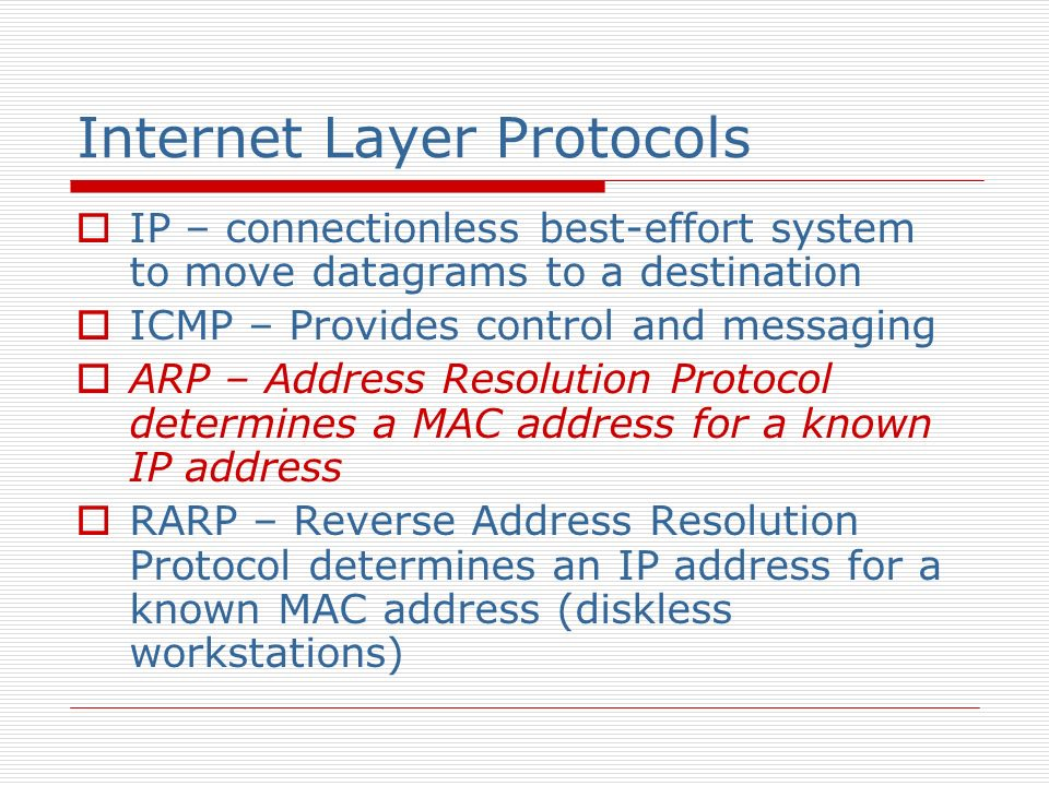 Internet Layer Protocols IP – connectionless best-effort system to move datagrams to a destination ICMP – Provides control and messaging ARP – Address