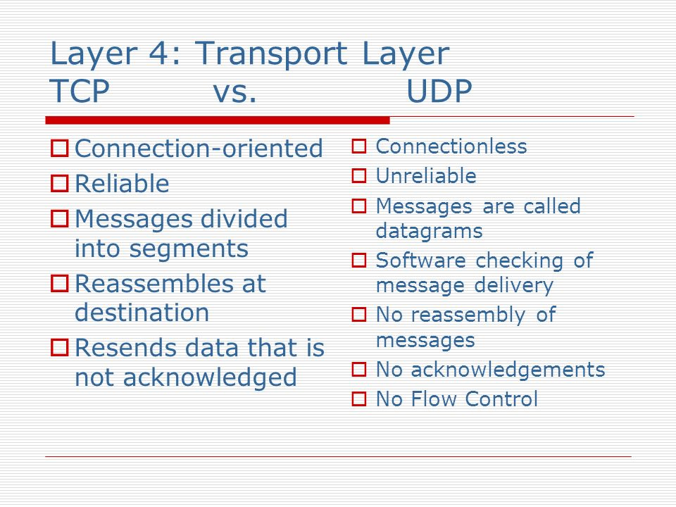 Layer 4: Transport Layer TCP vs. UDP Connection-oriented Reliable Messages divided into segments Reassembles at destination Resends data that is not a